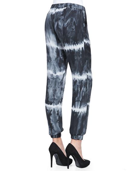 Silk Tie-Dye Drawstring Harem Pants