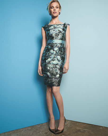 Cap-Sleeve Floral Sheath Dress