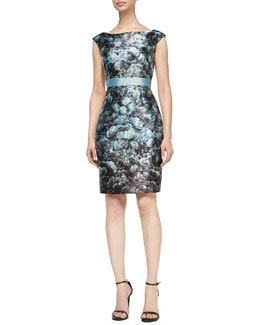 Kay Unger New York Cap-Sleeve Floral Sheath Dress