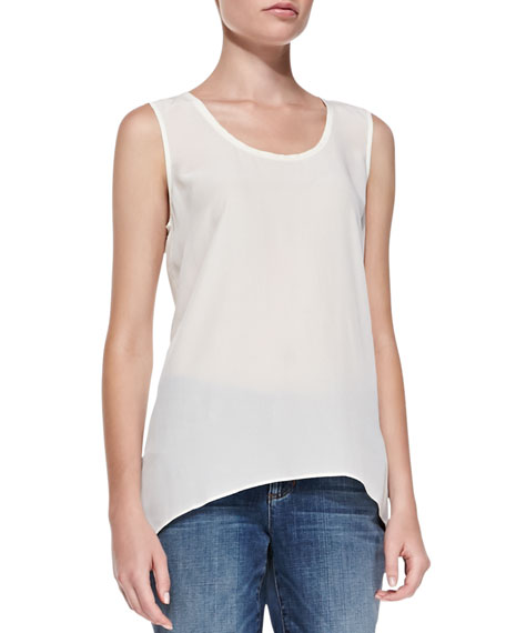Sleeveless Long Silk Top, Soft White