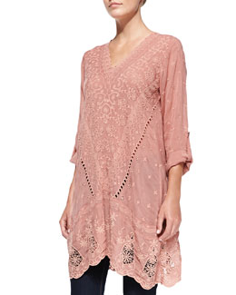Johnny Was Collection Yen Embroidered V-Neck Tunic, Apricot