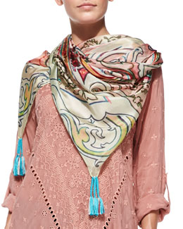 Johnny Was Collection Obsession Printed Silk Georgette Scarf