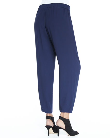 Slouchy Silk Ankle Pants, Plus Size