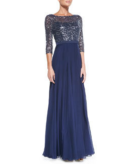 Kay Unger New York 3/4-Sleeve Sequined Lace Bodice Gown