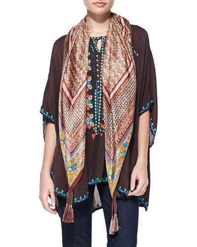 Johnny Was Collection Winterberry Silk Printed Scarf