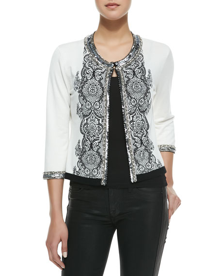 Lace-Print Cardigan with Sequin Trim, Women's