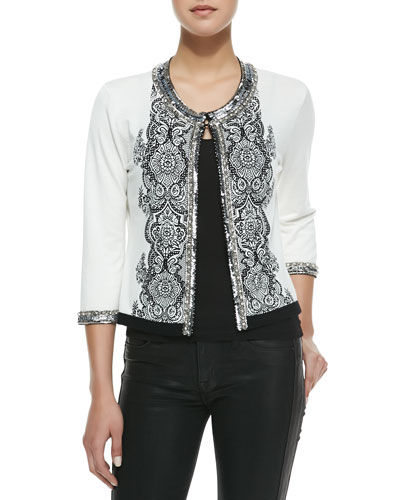 Lace-Print Cardigan with Sequin Trim
