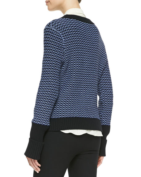 Sabina Rib-Trim Patterned Sweater