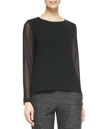 Rag & Bone Harper Sheer-Sleeve Blouse