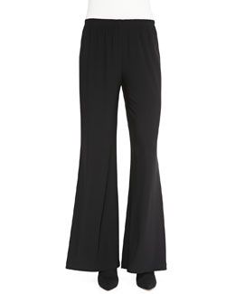 Caroline Rose Stretch Knit Wide-Leg Pants, Black