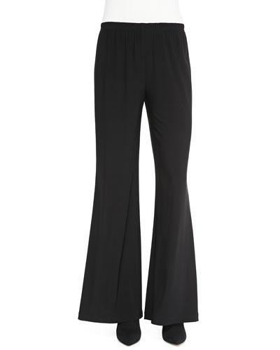 Caroline Rose Stretch Knit Wide-Leg Pants, Black
