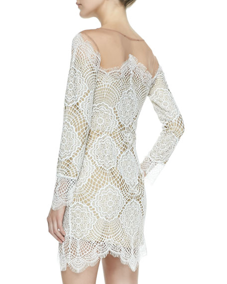 Grace Fringed Floral Lace Dress, White