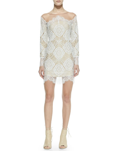 For Love & Lemons Grace Fringed Floral Lace Dress, White