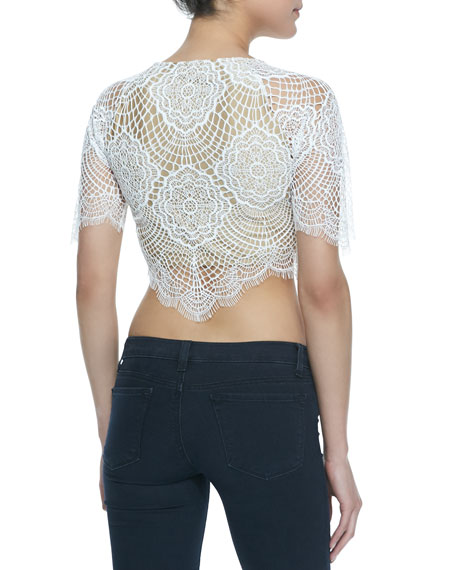 Grace Scalloped Lace Crop Top, White