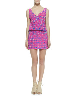 Amanda Uprichard Loves Cusp Plaid Leopard Print Crossover Dress, Pink Leopard