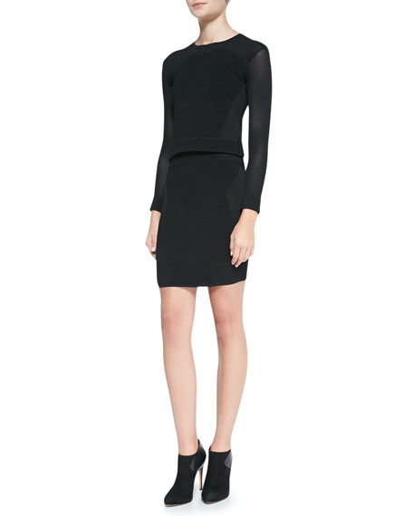 Gianna Angled Ottoman Knit Pencil Skirt, Black