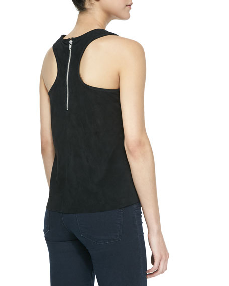Clark Perforated Suede Racerback Tank, Black
