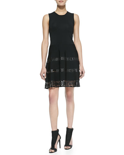 Parker Laser-cut Leather Fit-And-Flare Dress, Black