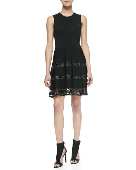 Laser-cut Leather Fit-And-Flare Dress, Black