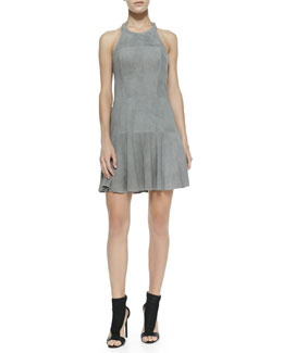 Parker Leona Perforated Suede Halter Dress, Slate