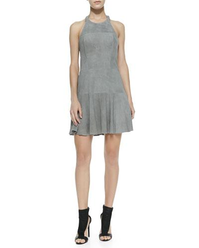 Parker Leona Perforated Suede Halter Dress, Slate