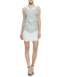 Parker Allegra Diamond Chevron Beaded Dress, White