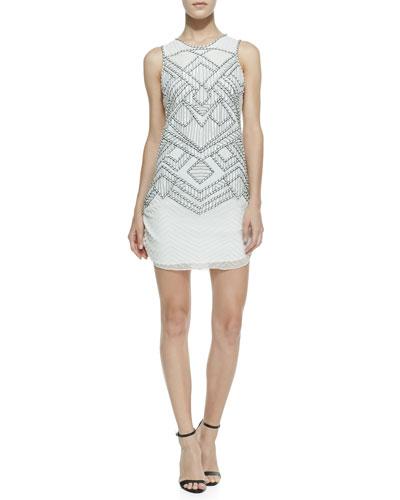 Parker Allegra Diamond Chevron Beaded Dress, White