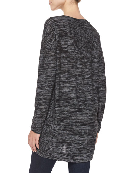 Space-Dyed Zip-Detailed Jersey Top, Black