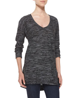 Splendid Space-Dyed Zip-Detailed Jersey Top, Black