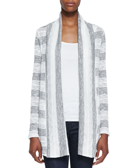 Rugby Pointelle Loose Knit Cardigan, White/Gray