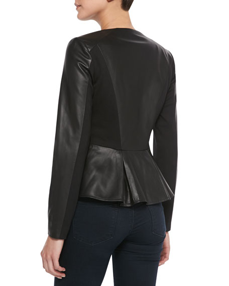Striped-Front Leather & Ponte Peplum Jacket, Black