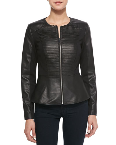 Cusp by Neiman Marcus Striped-Front Leather & Ponte Peplum Jacket, Black