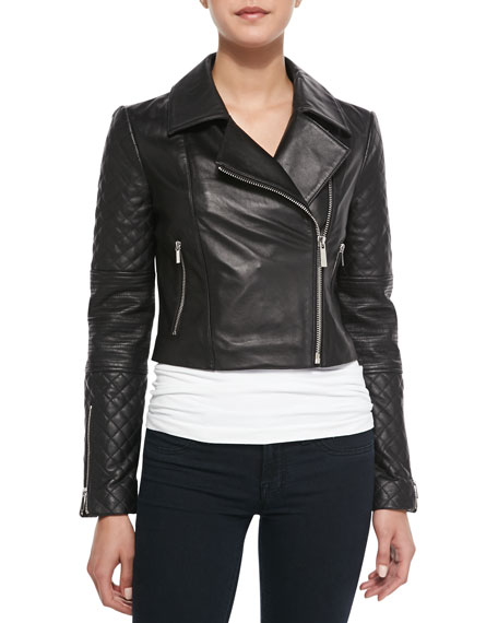 Cropped Mixed-Sleeve Leather Moto Jacket, Black