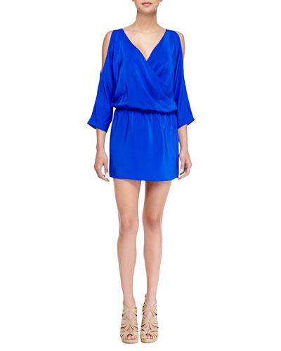 Amanda Uprichard Loves Cusp Cold-Shoulder Charmeuse Crossover Dress, Royal Blue