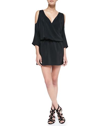 Amanda Uprichard Loves Cusp Cold-Shoulder Draped Silk Dress, Black