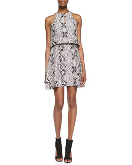 Parker Chelsea Snakeskin Print Tiered Dress, Snakenet