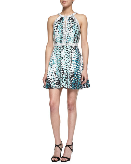 Nika Mixed Print Fit-And-Flare Dress, Jurassic