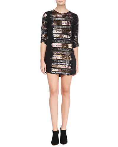 Parker Michelle Bead-Embellished Ruched Cocktail Dress, Copper