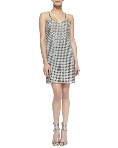 Parker Perry Allover Beaded Shift Dress, Cavern