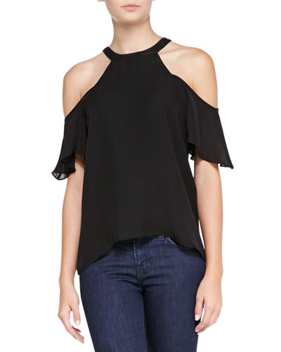 Parker Rose Cold-Shoulder Silk Top, Black