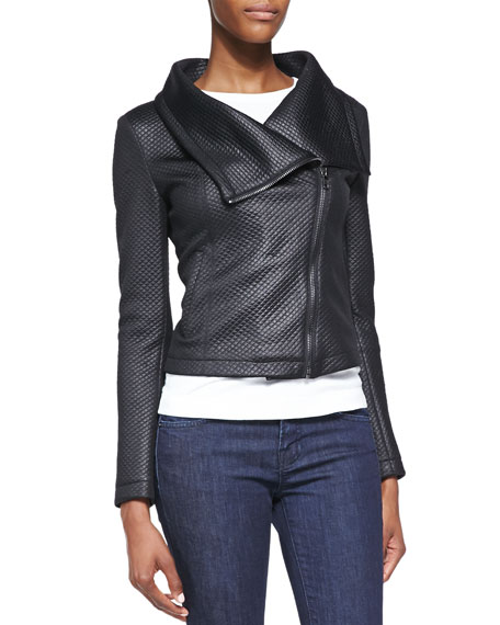 Coated Quilted Asymmetric Moto Jacket, Black