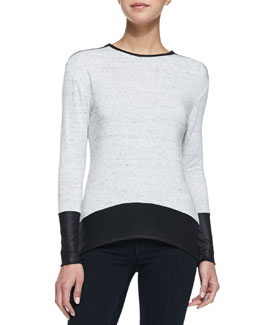 Generation Love Wax Ribbed Inset Top, Speckled Gray