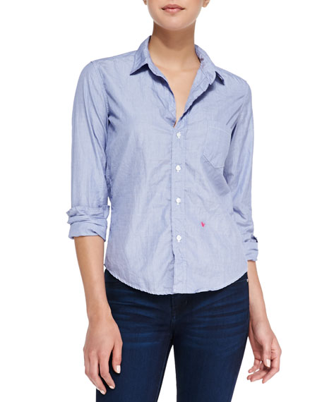 Barry 5th Anniversary Red Heart Blouse, Light Blue