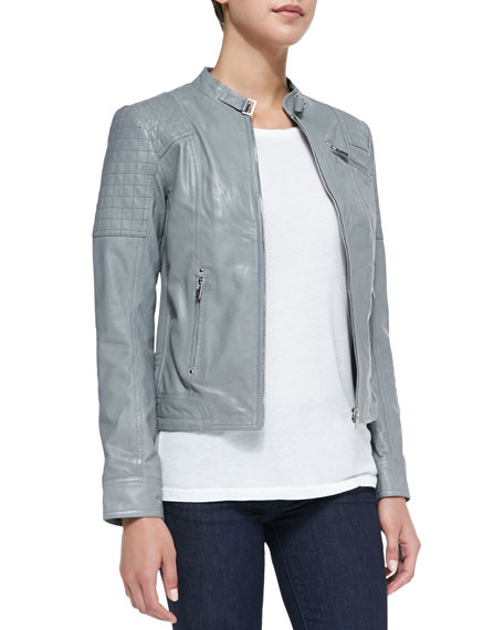 Check-Quilted Inset Leather Jacket, Smoke
