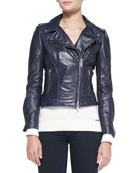 Notched Asymmetric Leather Moto Jacket, Navy