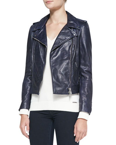 LaMarque Notched Asymmetric Leather Moto Jacket, Navy