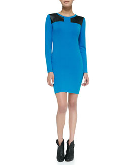 525 America Faux-Leather Inset Stretch Jersey Body-Con Dress, Blue