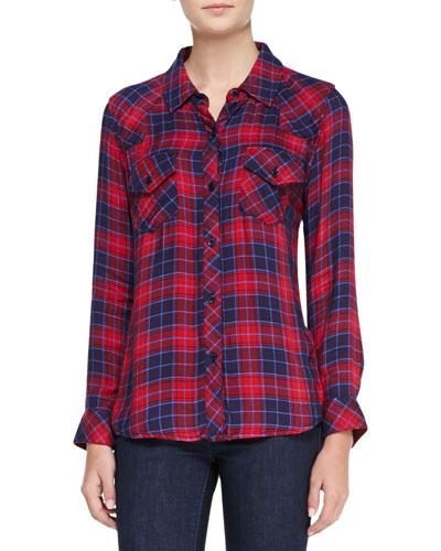 Rails Kendra Tencel® Button-Down Shirt, Candy Apple/Navy