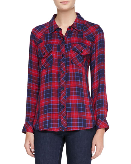 Kendra Tencel® Button-Down Shirt, Candy Apple/Navy