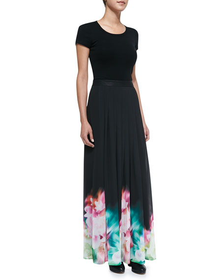 Pleated Floral Watercolor Print Maxi Skirt, Black